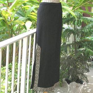 Vintage 60s 70s Butte Knit Wool Maxi Hippie Skirt